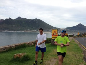 Two AAC runners preparing for Comrades