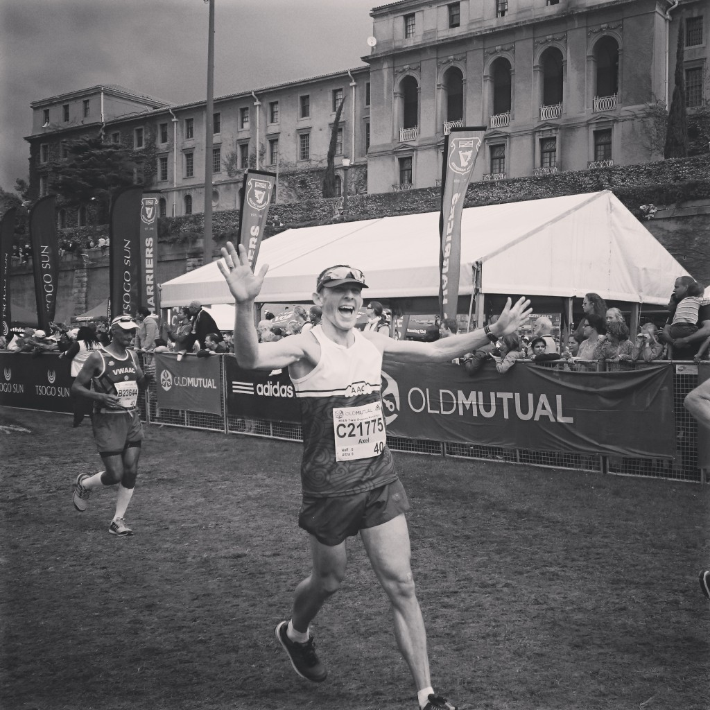 Axel Rittershaus finishing his 7th Two Oceans Ultra Marathon in 2015