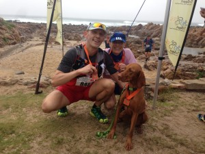 Silke, Amy and Axel at the finish of the 2 day Oystercatcher Trail Run 2015