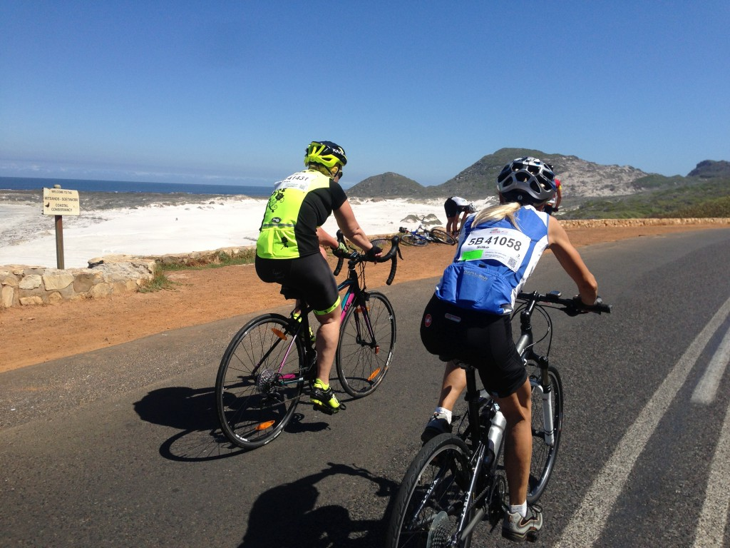 Cycling next to the beach of Misty Cliffs