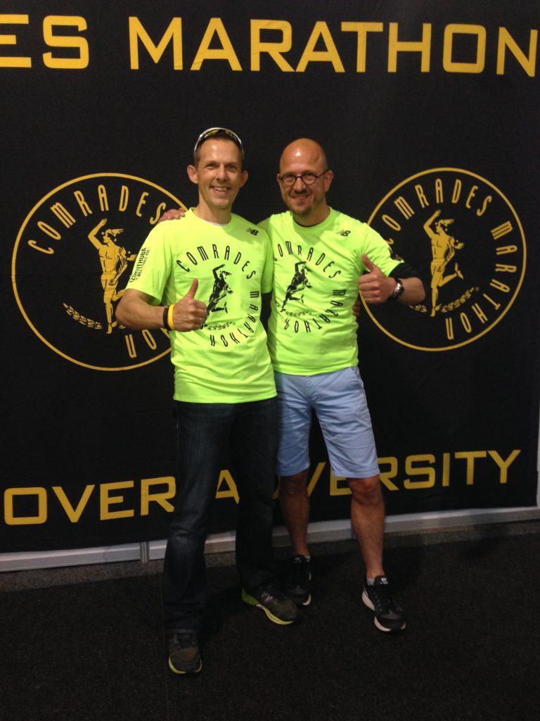 Axel Rittershaus and Marco van Leeuwen at the 2016 Comrades Marathon Expo