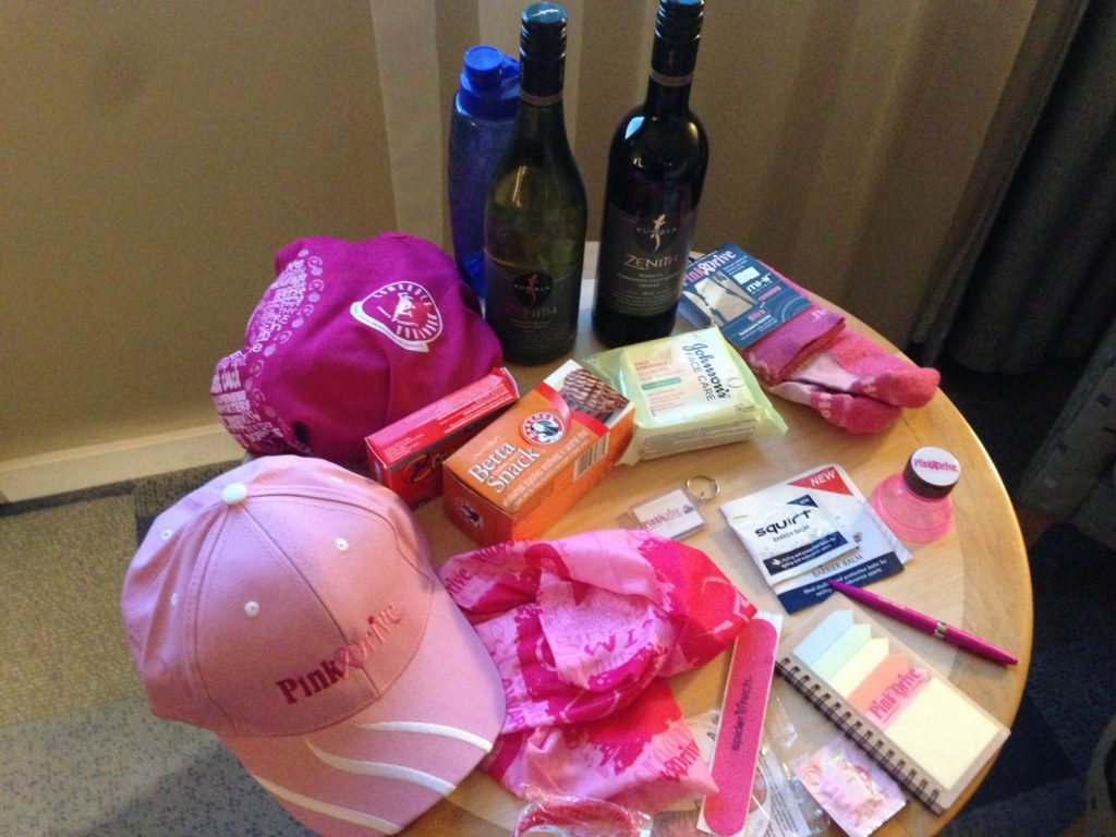 Even if I did not run, I got collected money for PinkDrive and received a lovely goody bag