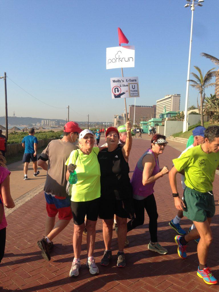 Durban North Beach Parkrun at the Promenade turn around point
