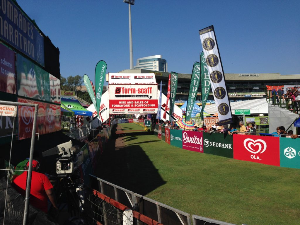 The finish straight without any runners at 2016 Comrades Marathon
