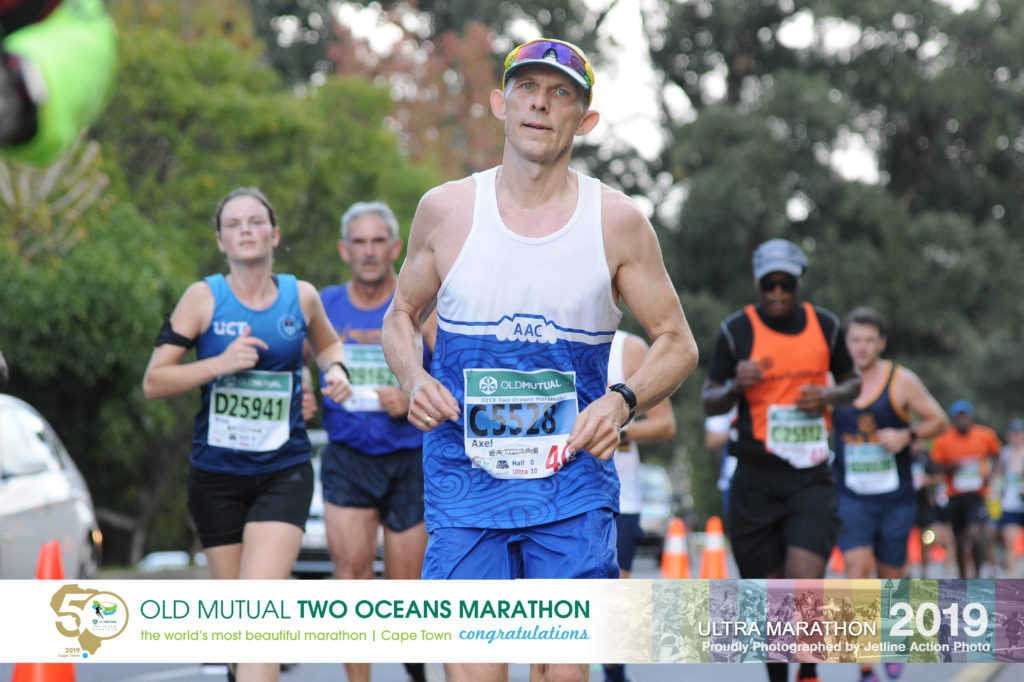 Axel during the 2019 Two Oceans Ultra Marathon OMTOM