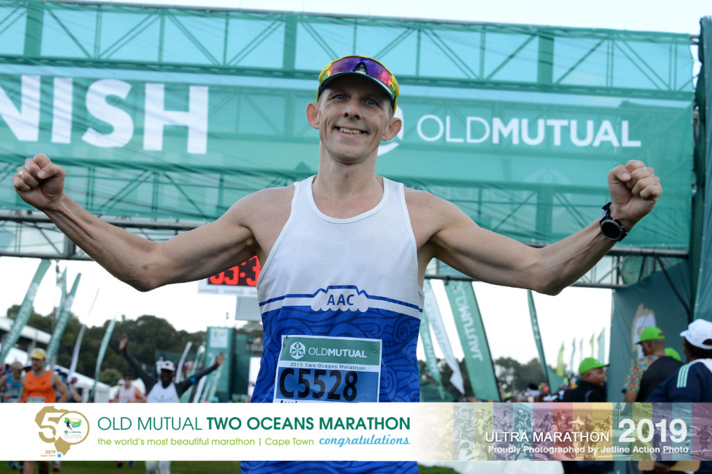 Axel at the finish of the Two Oceans Ultra Marathon 2019 in Cape Town