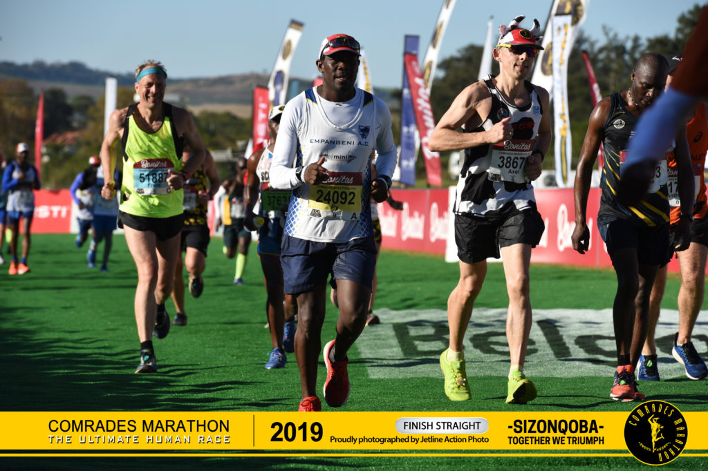 Axel finishing the 2019 Comrades Marathon