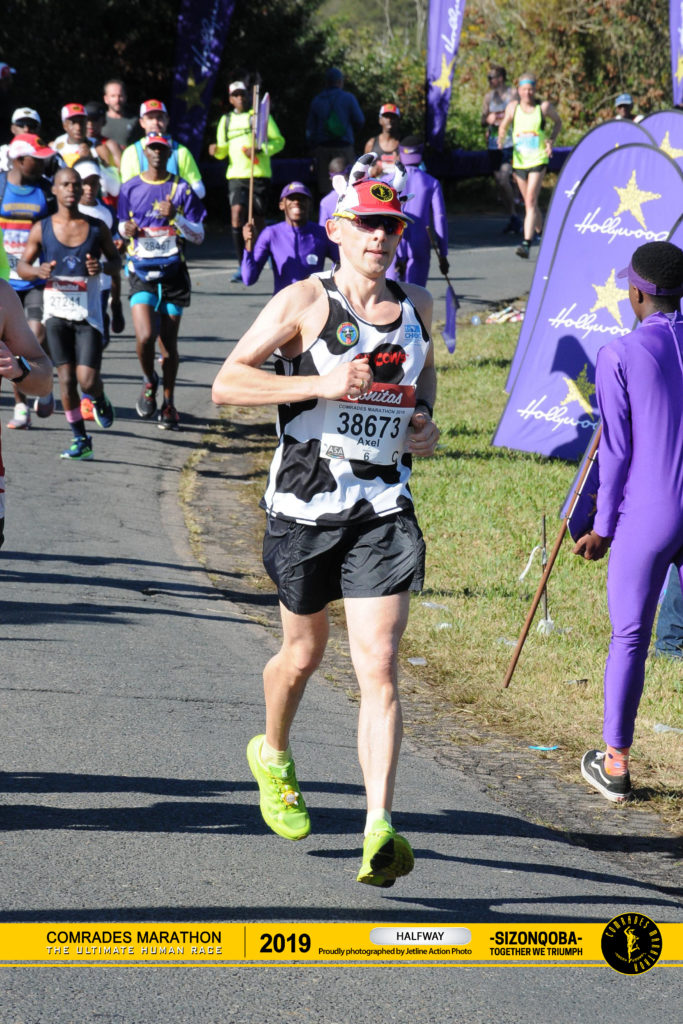Axel passing the half way mark of the 2019 Comrades Marathon