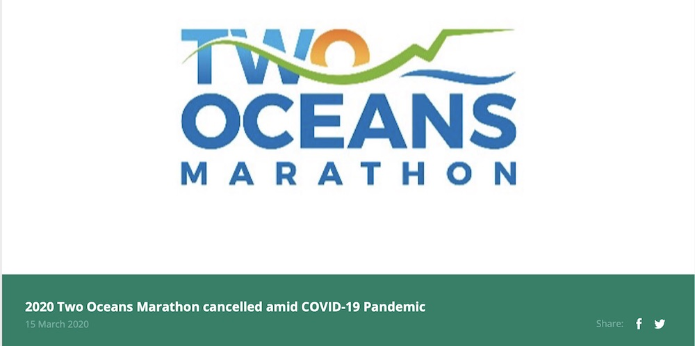 Two Oceans Ultra 2020 cancelled